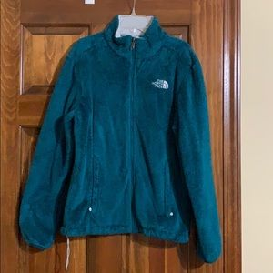 North Face blue/green fuzzy jacket